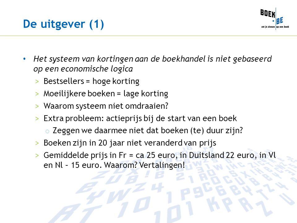 De uitgever (1) Het systeem van kortingen aan de boekhandel is niet gebaseerd op een economische logica >Bestsellers = hoge korting >Moeilijkere boeken = lage korting >Waarom systeem niet omdraaien.