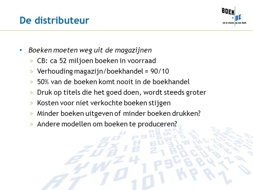 De distributeur Boeken moeten weg uit de magazijnen >CB: ca 52 miljoen boeken in voorraad >Verhouding magazijn/boekhandel = 90/10 >50% van de boeken k