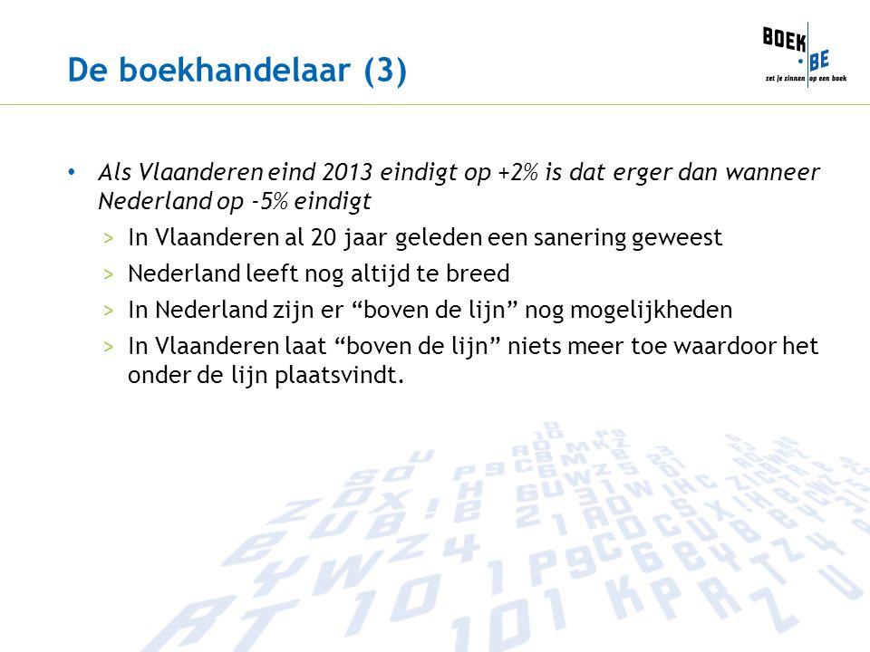 De boekhandelaar (3) Als Vlaanderen eind 2013 eindigt op +2% is dat erger dan wanneer Nederland op -5% eindigt >In Vlaanderen al 20 jaar geleden een sanering geweest >Nederland leeft nog altijd te breed >In Nederland zijn er boven de lijn nog mogelijkheden >In Vlaanderen laat boven de lijn niets meer toe waardoor het onder de lijn plaatsvindt.