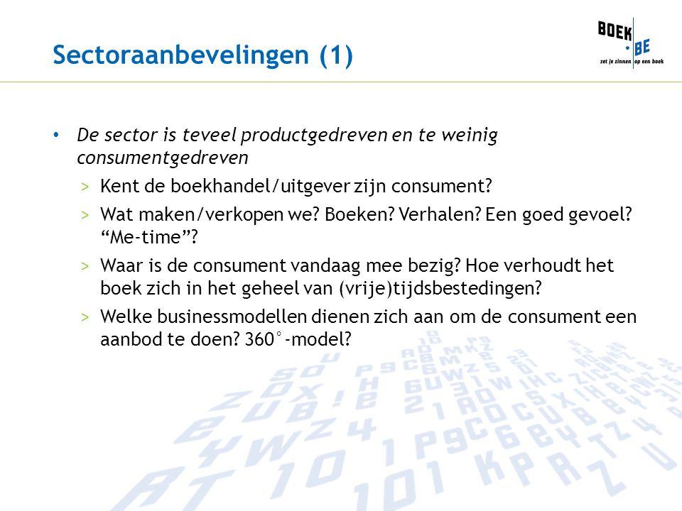 Sectoraanbevelingen (1) De sector is teveel productgedreven en te weinig consumentgedreven >Kent de boekhandel/uitgever zijn consument? >Wat maken/ver