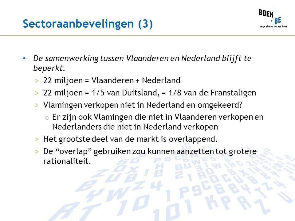 Sectoraanbevelingen (3) De samenwerking tussen Vlaanderen en Nederland blijft te beperkt. >22 miljoen = Vlaanderen + Nederland >22 miljoen = 1/5 van D