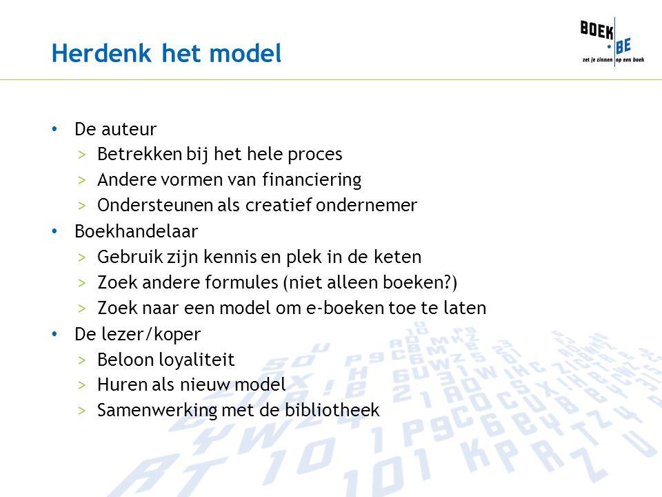 Herdenk het model De auteur >Betrekken bij het hele proces >Andere vormen van financiering >Ondersteunen als creatief ondernemer Boekhandelaar >Gebrui