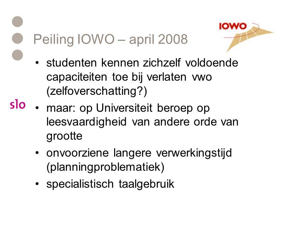 Peiling IOWO – april 2008 studenten kennen zichzelf voldoende capaciteiten toe bij verlaten vwo (zelfoverschatting?) maar: op Universiteit beroep op l