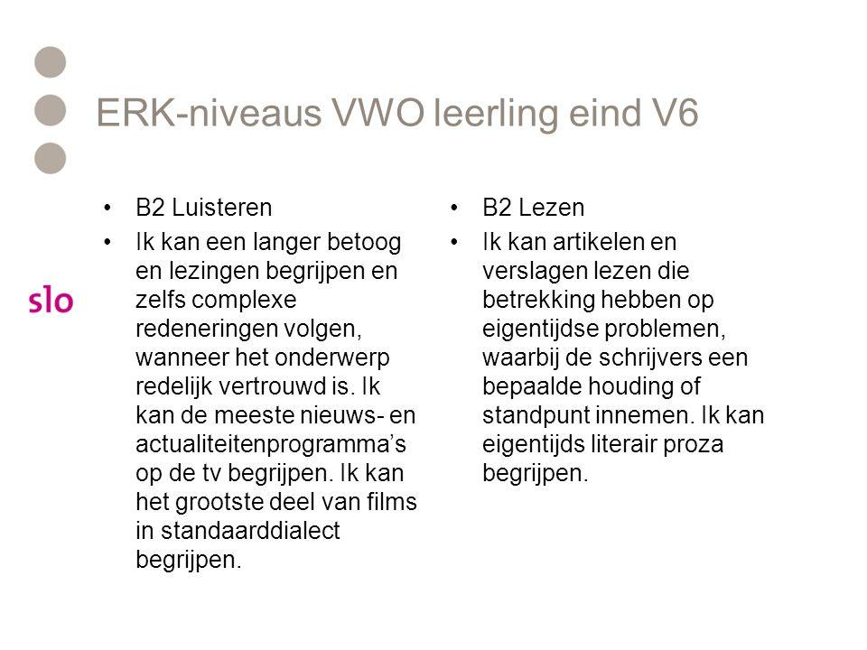 ERK-niveaus VWO leerling eind V6 B2 Luisteren Ik kan een langer betoog en lezingen begrijpen en zelfs complexe redeneringen volgen, wanneer het onderw