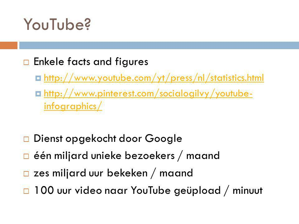 YouTube?  Enkele facts and figures  http://www.youtube.com/yt/press/nl/statistics.html http://www.youtube.com/yt/press/nl/statistics.html  http://w