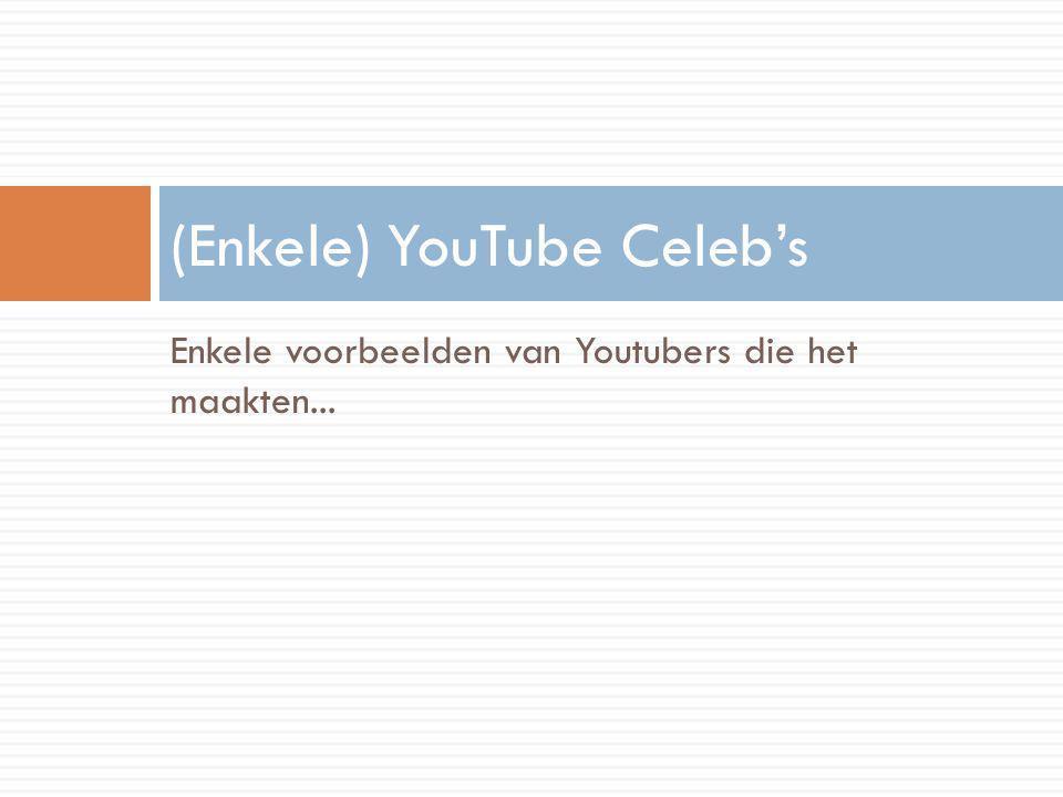 Enkele voorbeelden van Youtubers die het maakten... (Enkele) YouTube Celeb's