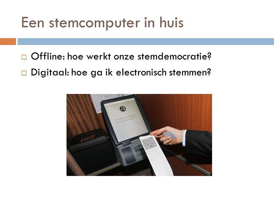 Een stemcomputer in huis  Offline: hoe werkt onze stemdemocratie?  Digitaal: hoe ga ik electronisch stemmen?