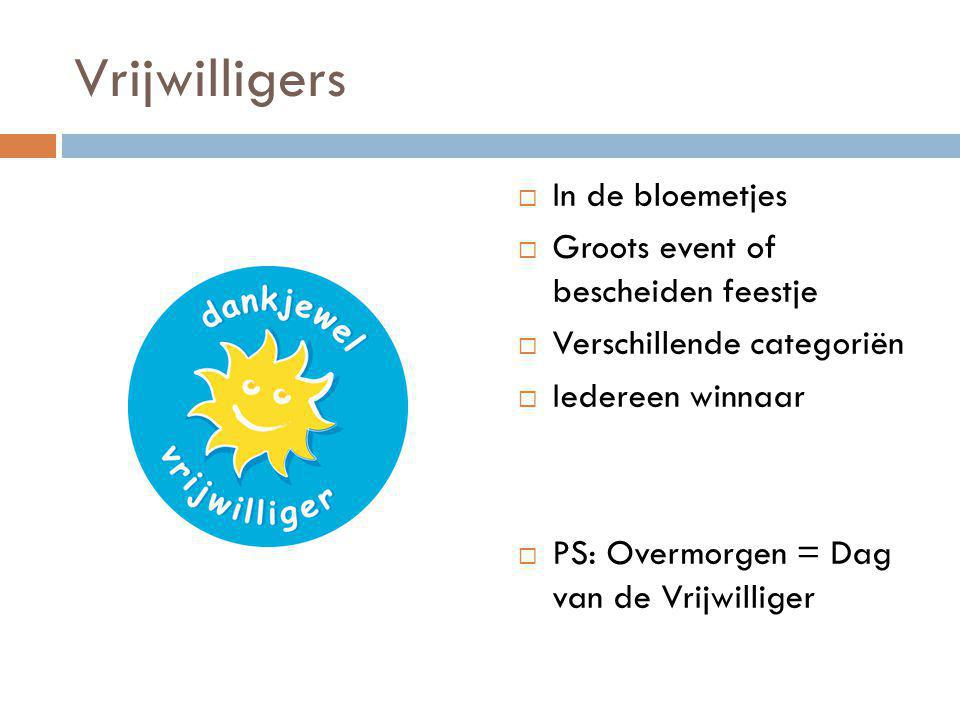 Vrijwilligers  In de bloemetjes  Groots event of bescheiden feestje  Verschillende categoriën  Iedereen winnaar  PS: Overmorgen = Dag van de Vrij