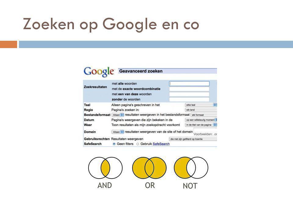 Zoeken op Google en co