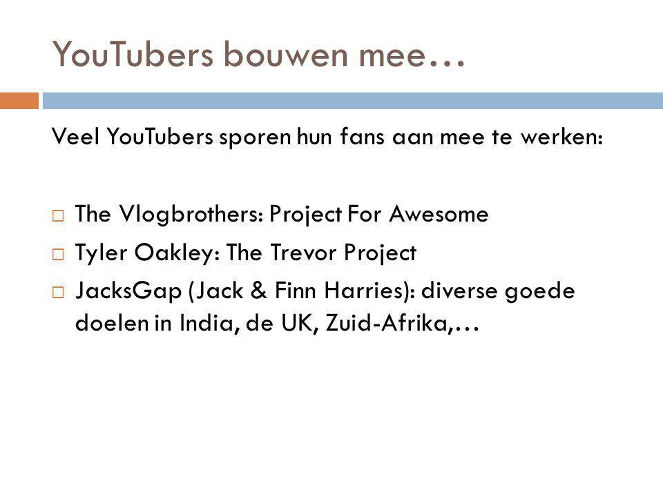 YouTubers bouwen mee… Veel YouTubers sporen hun fans aan mee te werken:  The Vlogbrothers: Project For Awesome  Tyler Oakley: The Trevor Project  J
