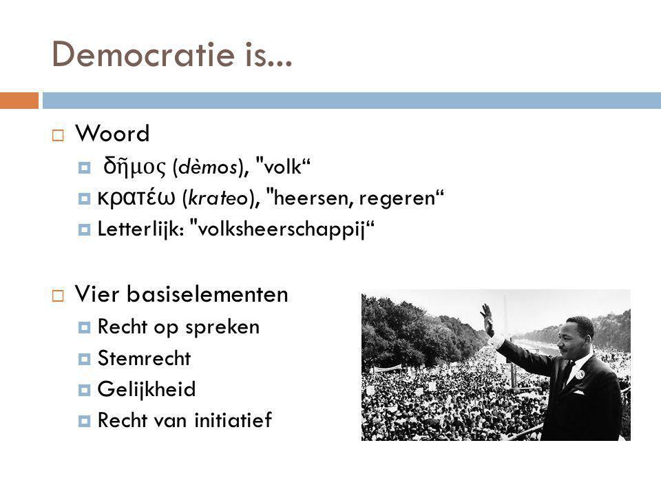 Democratie is...  Woord  δῆμος (dèmos),