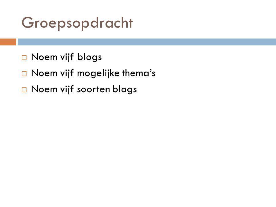 Groepsopdracht  Noem vijf blogs  Noem vijf mogelijke thema's  Noem vijf soorten blogs