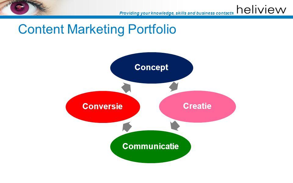Providing your knowledge, skills and business contacts Concept Creatie Communicatie Conversie Content Marketing Portfolio