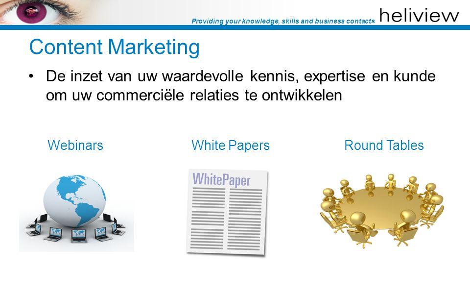 Providing your knowledge, skills and business contacts Content Marketing De inzet van uw waardevolle kennis, expertise en kunde om uw commerciële relaties te ontwikkelen WebinarsWhite PapersRound Tables