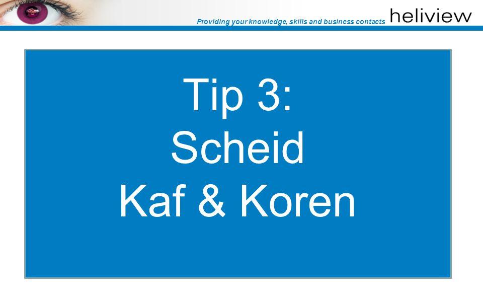 Providing your knowledge, skills and business contacts Tip 3: Scheid kaf & koren Richt je met je titel op je doelgroep: –Zoals: Valkuilen voor eHRM bij grote organisaties Stel een kwalificerende vraag: –Zoals: eHRM is bij ons een actueel thema (ja/nee) Vraag alleen relevante profielgegevens –Functie (HR of ICT) –Organisatiegrootte (bijvoorbeeld > 200 fte)