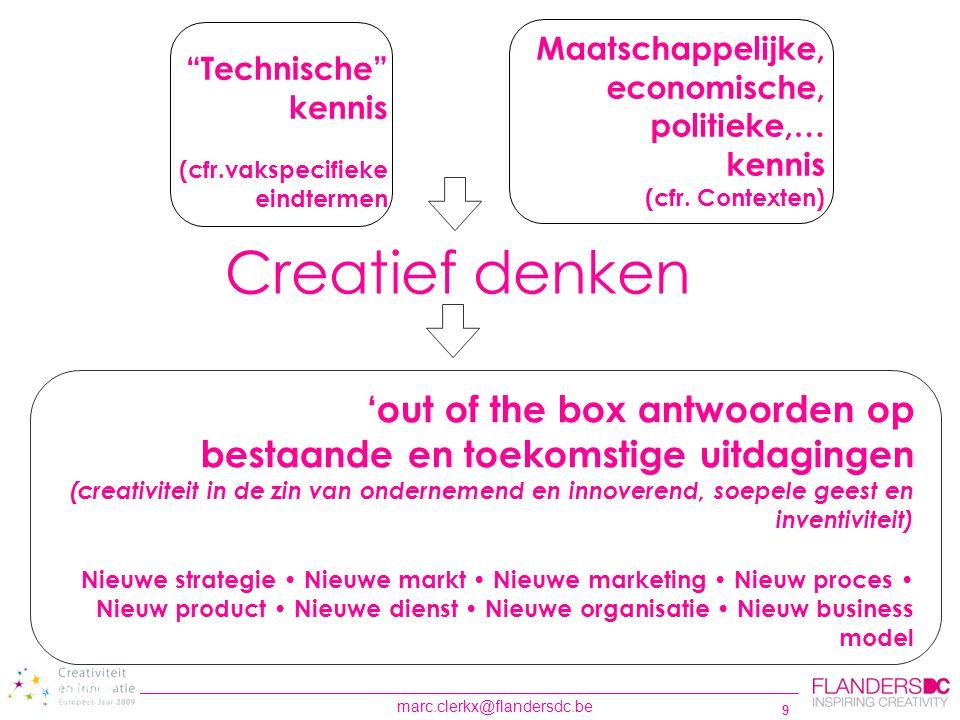 30 Wat kan Flanders DC het onderwijs aanbieden? www.flandersdc.be Portaalsite creativiteit