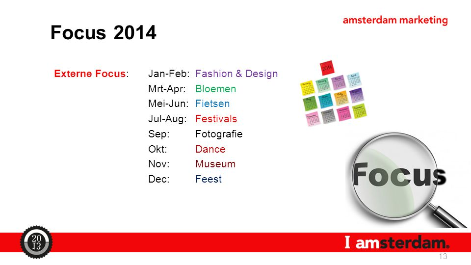 Externe Focus:Jan-Feb: Fashion & Design Mrt-Apr: Bloemen Mei-Jun: Fietsen Jul-Aug: Festivals Sep: Fotografie Okt: Dance Nov: Museum Dec: Feest 13 Focus 2014