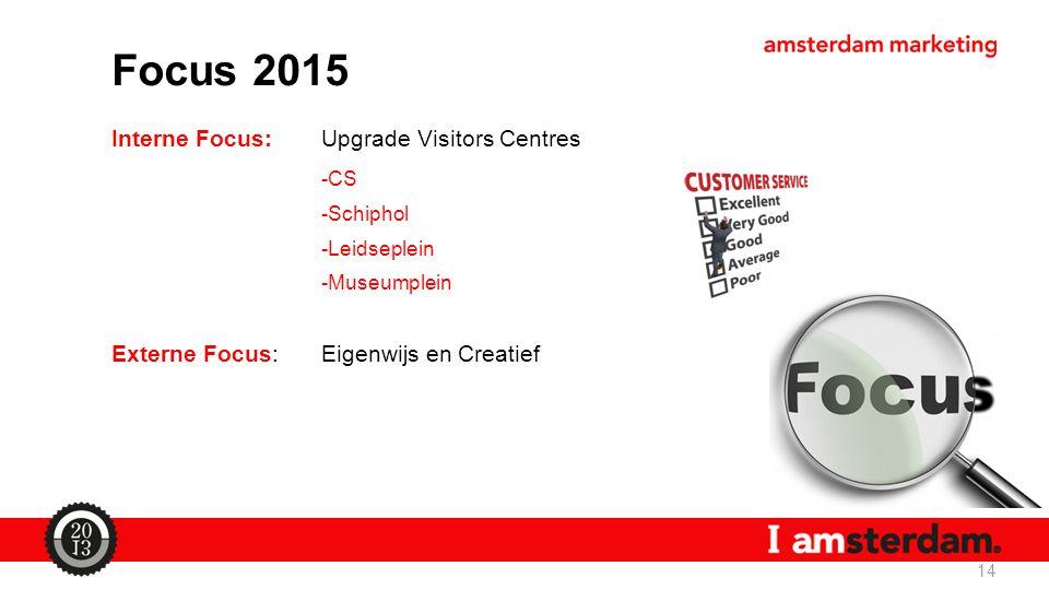 Focus 2015 Interne Focus:Upgrade Visitors Centres -CS -Schiphol -Leidseplein -Museumplein Externe Focus:Eigenwijs en Creatief 14