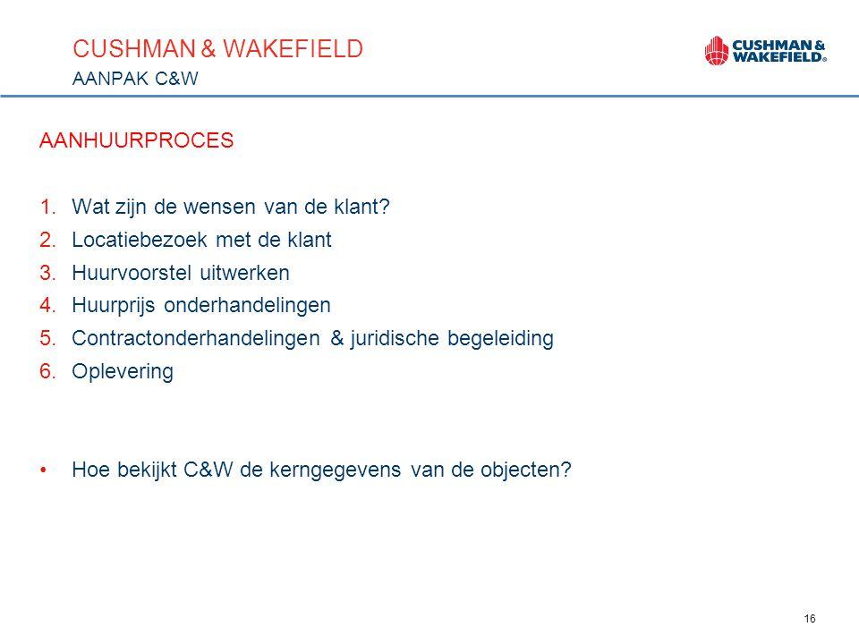 16 CUSHMAN & WAKEFIELD AANPAK C&W AANHUURPROCES 1.Wat zijn de wensen van de klant.
