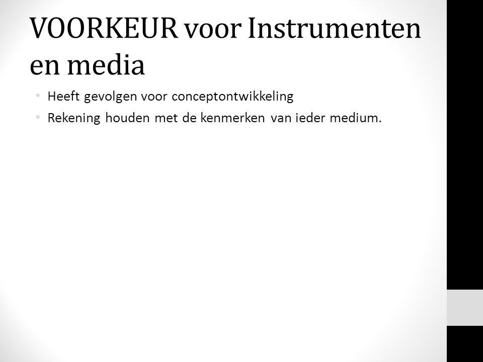 VOORKEUR voor Instrumenten en media Heeft gevolgen voor conceptontwikkeling Rekening houden met de kenmerken van ieder medium.