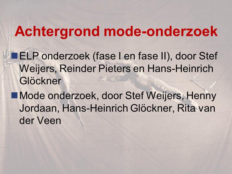 Achtergrond mode-onderzoek ELP onderzoek (fase I en fase II), door Stef Weijers, Reinder Pieters en Hans-Heinrich Glöckner Mode onderzoek, door Stef Weijers, Henny Jordaan, Hans-Heinrich Glöckner, Rita van der Veen