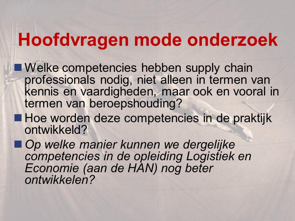 Hoofdvragen mode onderzoek Welke competencies hebben supply chain professionals nodig, niet alleen in termen van kennis en vaardigheden, maar ook en vooral in termen van beroepshouding.