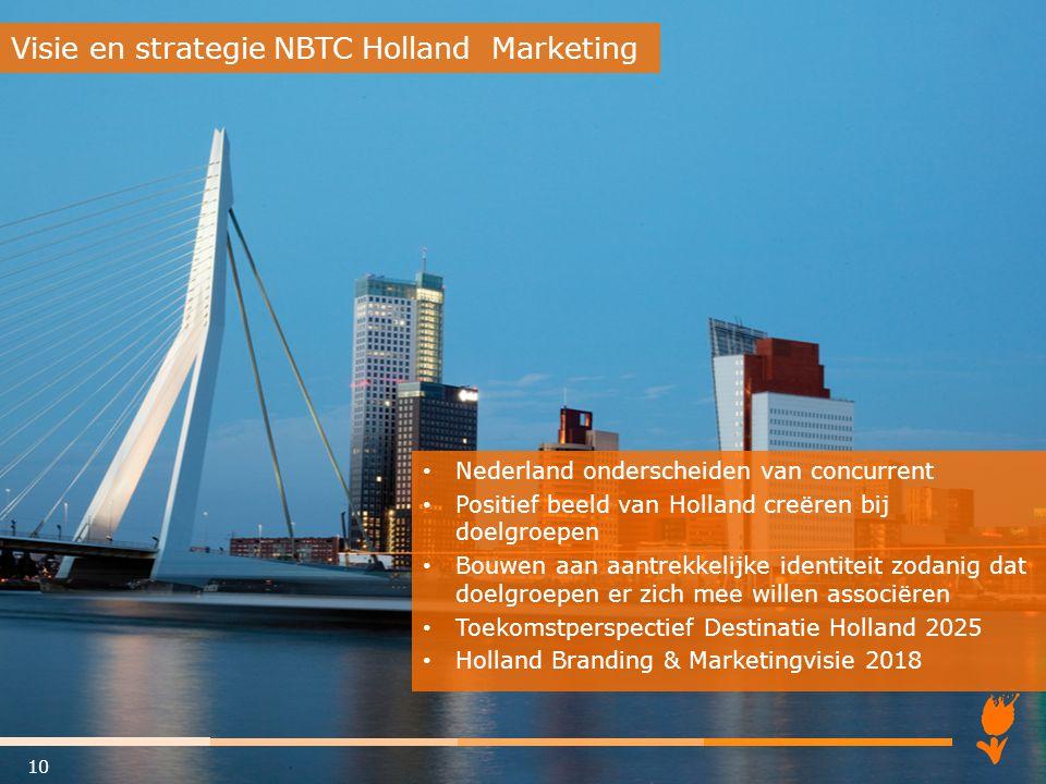 Nederland onderscheiden van concurrent Positief beeld van Holland creëren bij doelgroepen Bouwen aan aantrekkelijke identiteit zodanig dat doelgroepen