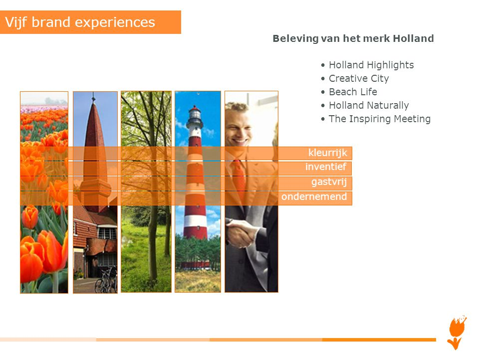 Beleving van het merk Holland Holland Highlights Creative City Beach Life Holland Naturally The Inspiring Meeting Vijf brand experiences kleurrijk inv