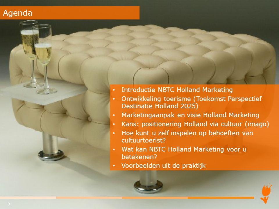 Introductie NBTC Holland Marketing Ontwikkeling toerisme (Toekomst Perspectief Destinatie Holland 2025) Marketingaanpak en visie Holland Marketing Kan