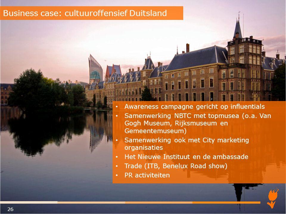 Awareness campagne gericht op influentials Samenwerking NBTC met topmusea (o.a. Van Gogh Museum, Rijksmuseum en Gemeentemuseum) Samenwerking ook met C