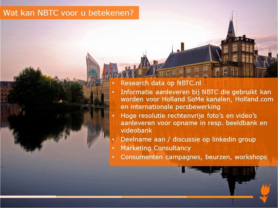 Research data op NBTC.nl Informatie aanleveren bij NBTC die gebruikt kan worden voor Holland SoMe kanalen, Holland.com en internationale persbewerking