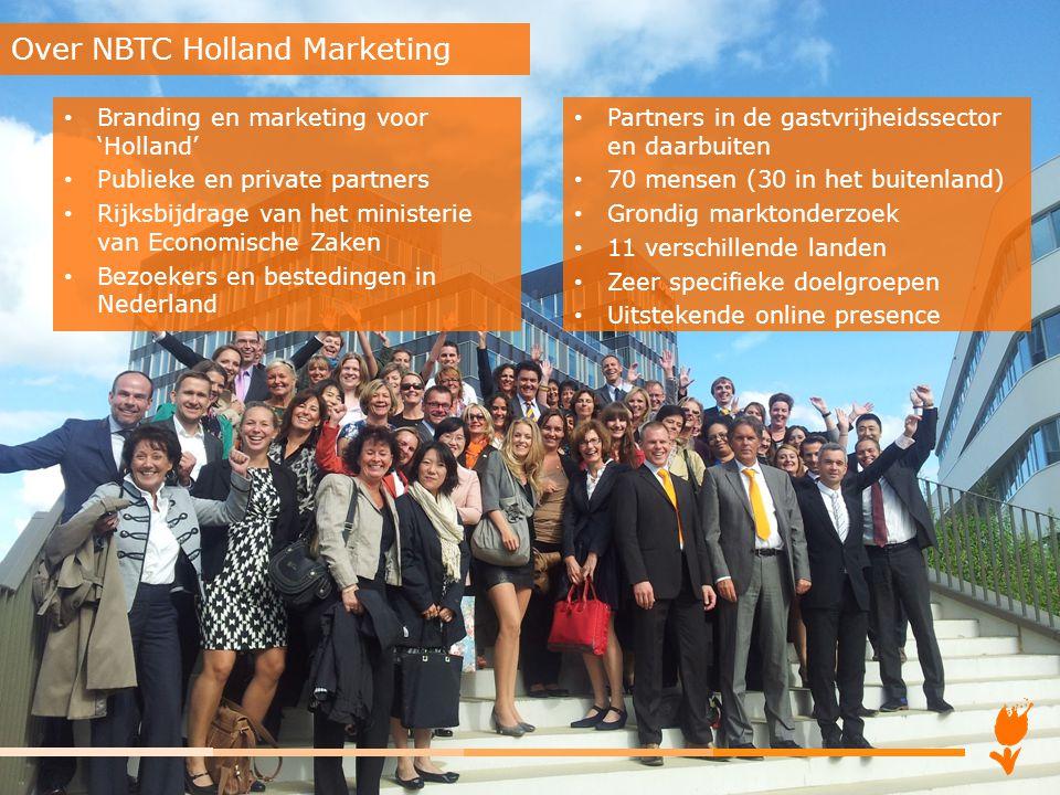 Branding en marketing voor 'Holland' Publieke en private partners Rijksbijdrage van het ministerie van Economische Zaken Bezoekers en bestedingen in N