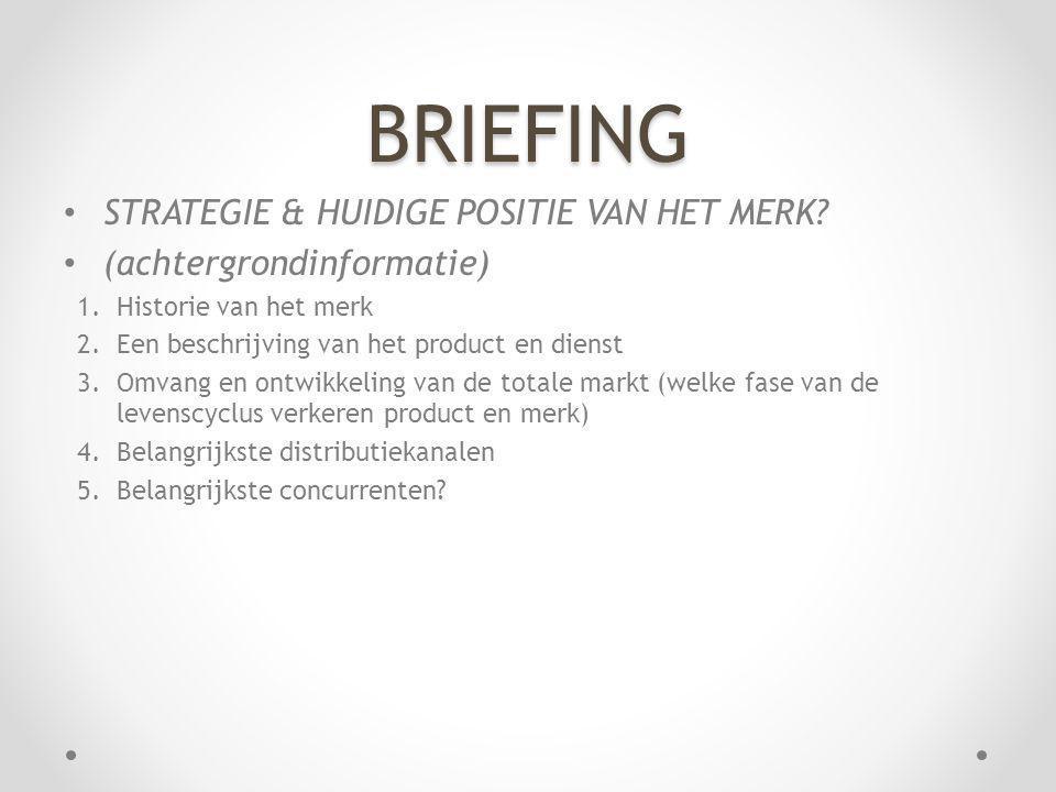BRIEFING STRATEGIE & HUIDIGE POSITIE VAN HET MERK? (achtergrondinformatie) 1.Historie van het merk 2.Een beschrijving van het product en dienst 3.Omva