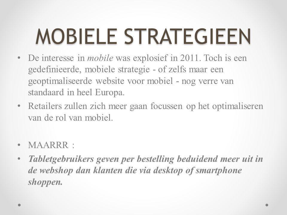 MOBIELE STRATEGIEEN De interesse in mobile was explosief in 2011. Toch is een gedefinieerde, mobiele strategie - of zelfs maar een geoptimaliseerde we