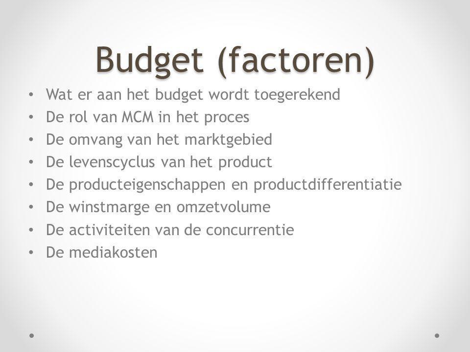 Budget (factoren) Wat er aan het budget wordt toegerekend De rol van MCM in het proces De omvang van het marktgebied De levenscyclus van het product D