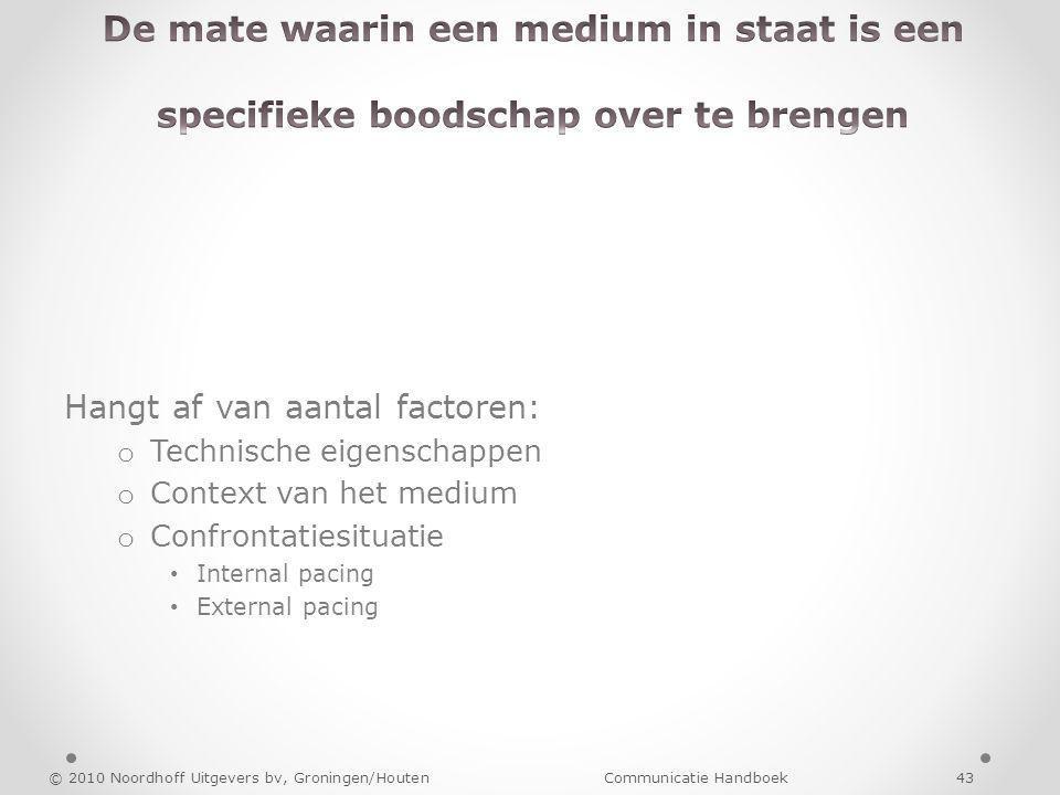 Hangt af van aantal factoren: o Technische eigenschappen o Context van het medium o Confrontatiesituatie Internal pacing External pacing © 2010 Noordh
