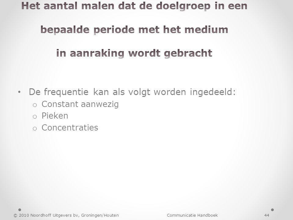 De frequentie kan als volgt worden ingedeeld: o Constant aanwezig o Pieken o Concentraties © 2010 Noordhoff Uitgevers bv, Groningen/Houten Communicati