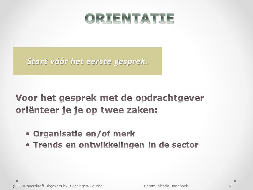 © 2010 Noordhoff Uitgevers bv, Groningen/Houten Communicatie Handboek 48 Start vóór het eerste gesprek.
