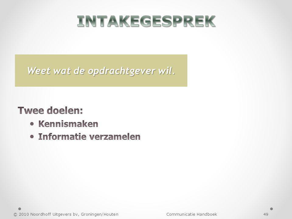 © 2010 Noordhoff Uitgevers bv, Groningen/Houten Communicatie Handboek 49 Weet wat de opdrachtgever wil.