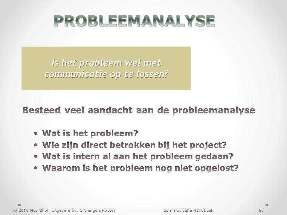 © 2010 Noordhoff Uitgevers bv, Groningen/Houten Communicatie Handboek 50 Is het probleem wel met communicatie op te lossen?