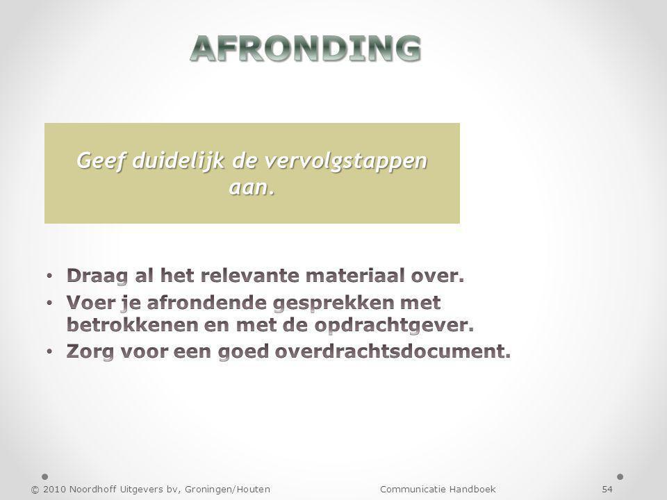 © 2010 Noordhoff Uitgevers bv, Groningen/Houten Communicatie Handboek 54 Geef duidelijk de vervolgstappen aan.