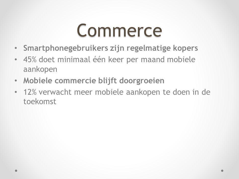 Commerce Smartphonegebruikers zijn regelmatige kopers 45% doet minimaal één keer per maand mobiele aankopen Mobiele commercie blijft doorgroeien 12% v