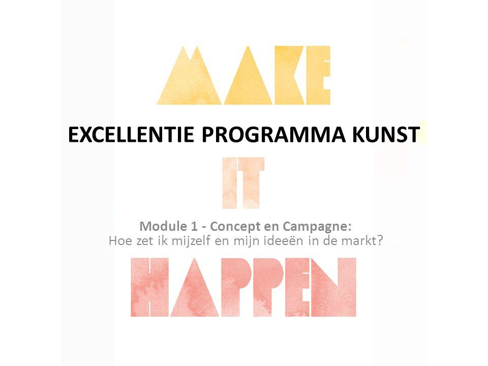 EXCELLENTIE PROGRAMMA KUNST Module 1 - Concept en Campagne: Hoe zet ik mijzelf en mijn ideeën in de markt?