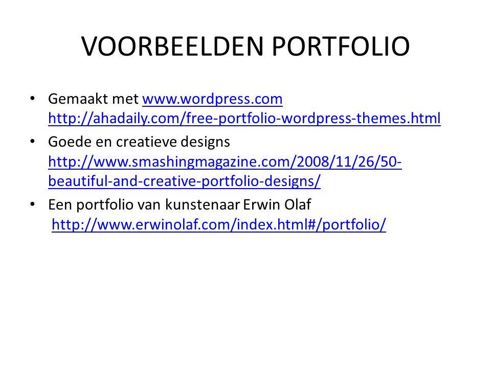 VOORBEELDEN PORTFOLIO Gemaakt met www.wordpress.com http://ahadaily.com/free-portfolio-wordpress-themes.htmlwww.wordpress.com http://ahadaily.com/free