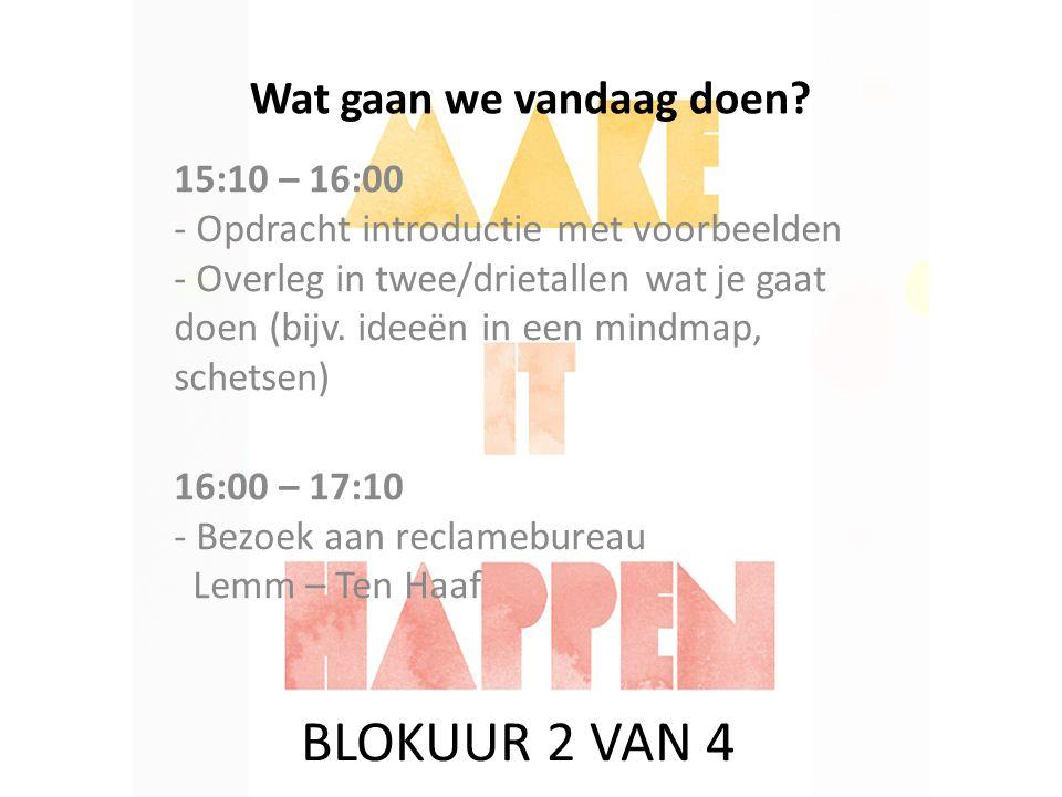 Wat gaan we vandaag doen? 15:10 – 16:00 - Opdracht introductie met voorbeelden - Overleg in twee/drietallen wat je gaat doen (bijv. ideeën in een mind