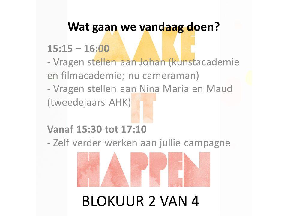 Wat gaan we vandaag doen? 15:15 – 16:00 - Vragen stellen aan Johan (kunstacademie en filmacademie; nu cameraman) - Vragen stellen aan Nina Maria en Ma