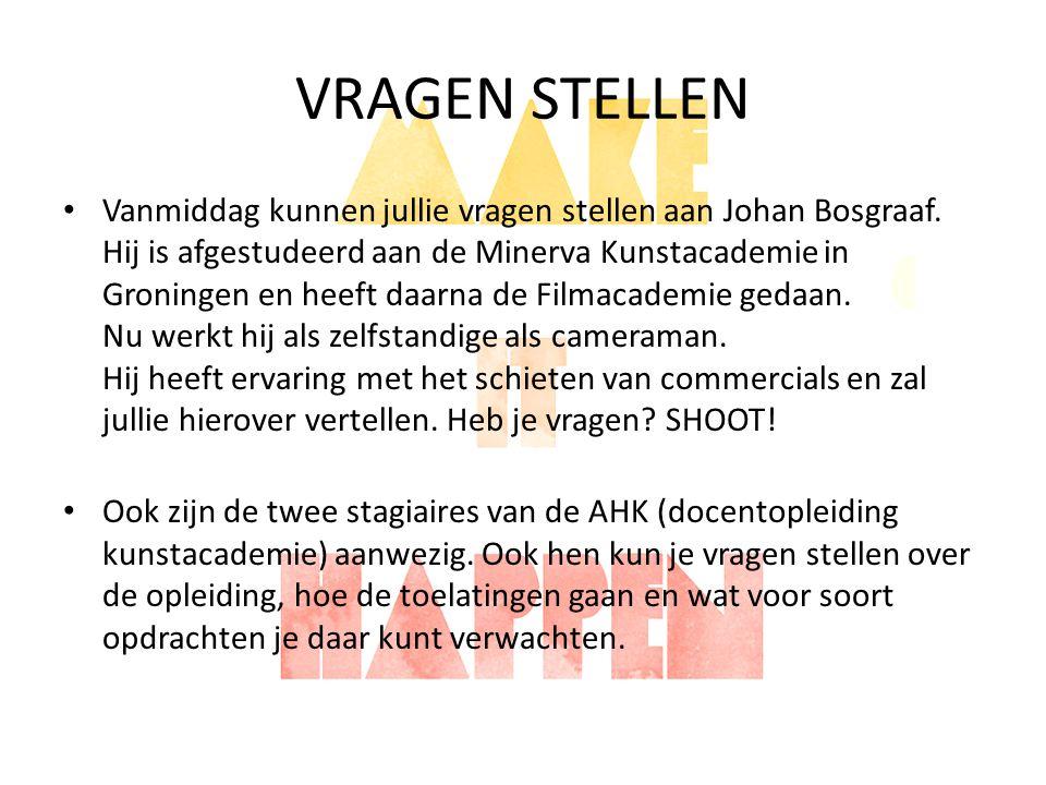 VRAGEN STELLEN Vanmiddag kunnen jullie vragen stellen aan Johan Bosgraaf. Hij is afgestudeerd aan de Minerva Kunstacademie in Groningen en heeft daarn
