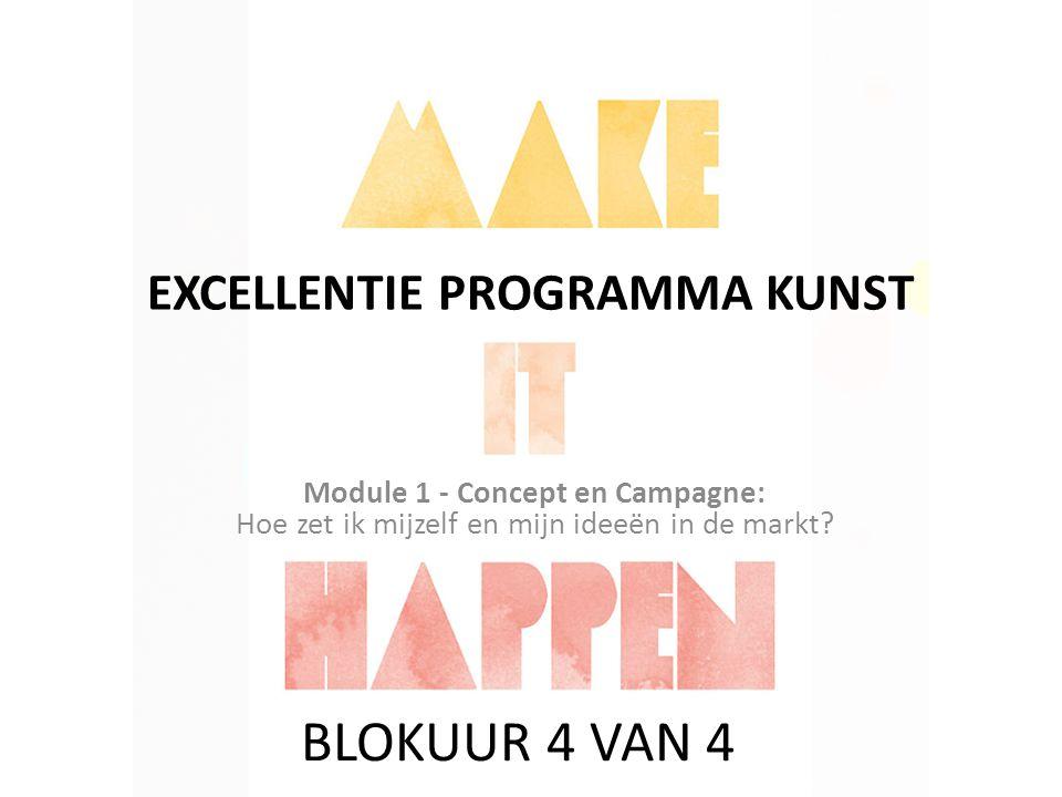 EXCELLENTIE PROGRAMMA KUNST Module 1 - Concept en Campagne: Hoe zet ik mijzelf en mijn ideeën in de markt? BLOKUUR 4 VAN 4