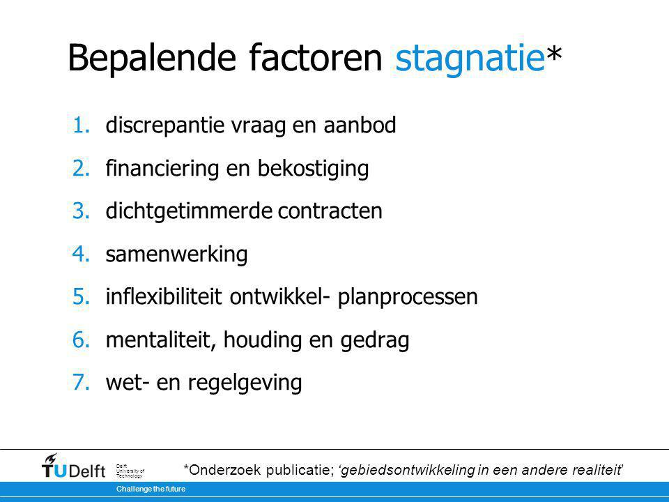 Challenge the future Delft University of Technology Bepalende factoren stagnatie * 1.discrepantie vraag en aanbod 2.financiering en bekostiging 3.dich
