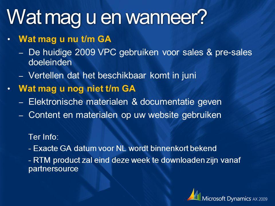 Wat mag u en wanneer? Wat mag u nu t/m GA – De huidige 2009 VPC gebruiken voor sales & pre-sales doeleinden – Vertellen dat het beschikbaar komt in ju